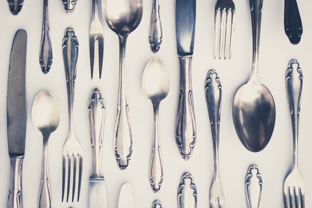 beautiful old silver cutlery  - vintage style