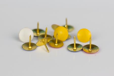 inconvenient: group thumbtacks, needles isolated on white background Stock Photo