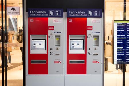 Berlin, Germany - march 30, 2016: Train ticket vending machine of the german railroad company (Deutsche Bahn) at berlin main station (Berlin Hauptbahnhof).