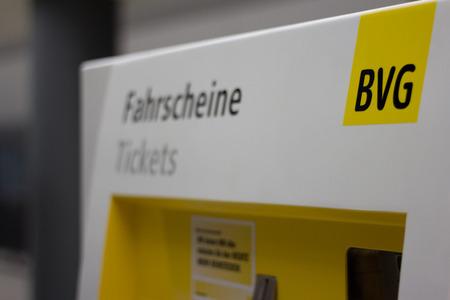transportaion: Berlin, Germany - march 30, 2016: Berlin, public transportaion (BVG) ticket vending machine in metro station, berlin, germany.