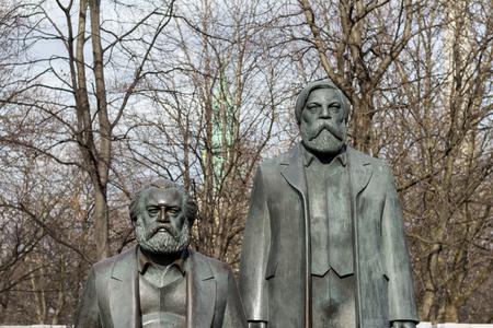 karl: Berlin, Germany - march 30, 2016: Statue of Karl Marx and Friedrich Engels near Alexanderplatz in Berlin, Germany.