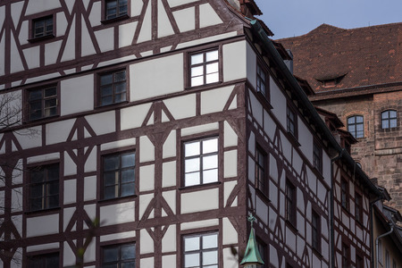 timbered: old half timbered building facade; nuremberg germany