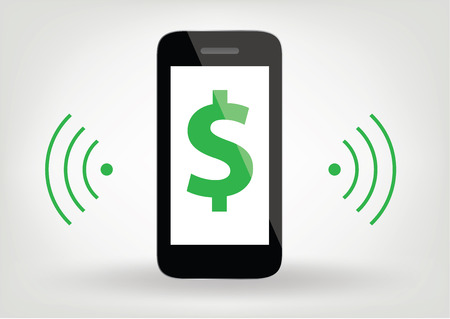smart phone  mobile phone icon with dollar sign and wireless symbol