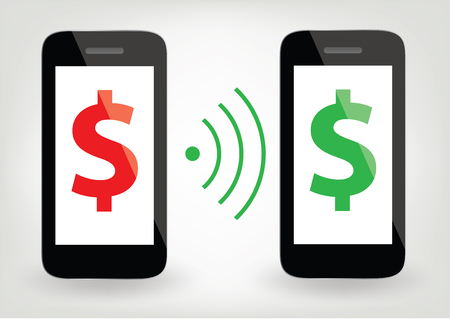 two smart phones with dollar signs and wireless symbol - money transfer concept Illusztráció