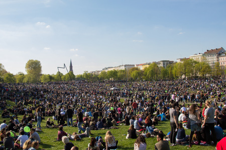 first day: Berlin, Germany - may 01, 2016: Crowded park (Goerlitzer Park) in Berlin, Kreuzberg during may day  labor day on the first of may.