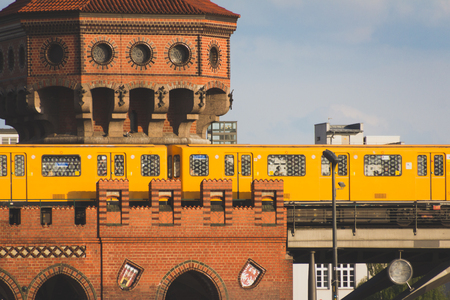 U-bahn  subway train on oberbaum bridge in Berlin Stock Photo