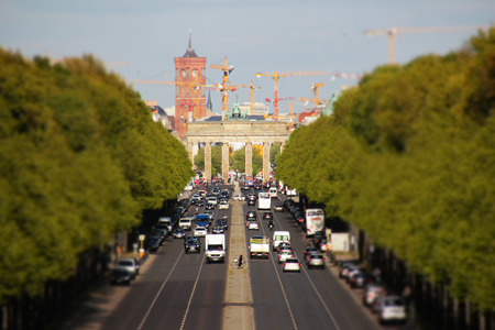 tilt: Berlin city skyline - brandenburg gate and red town hall - tilt shift