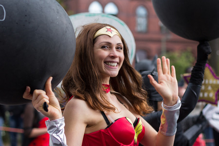 wonder woman: Berlin, Germany may 15, 2016: Portrait girl dressed as Wonder Woman super hero on Carnival of Cultures in Berlin, Germany.