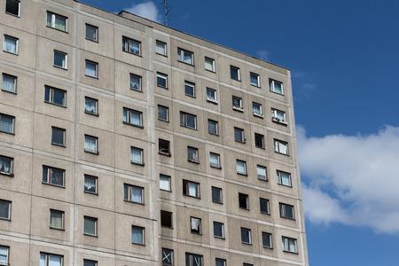 gdr: old gdr building facade, - Plattenbau Berlin
