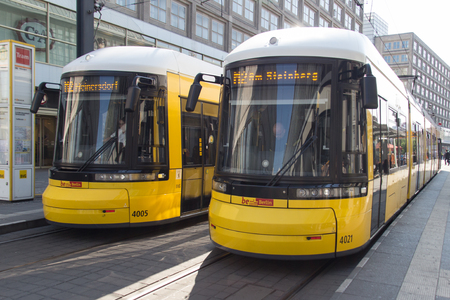 electric tram: Berlin, Germany - may 13, 2016:Two electric Tram trains at Alexanderplatz in Berlin, Germany. Editorial