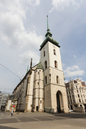 jacob: The tower of Church of St Jacob (St James) in Brno, Czech Republic. Stock Photo