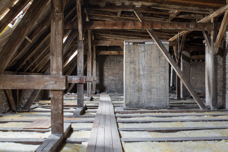 roof framework: inside roof framework flats before development