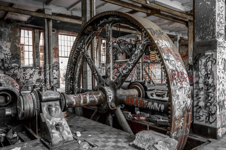 abandoned factory: abandoned factory interior  , old building ruin