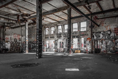 warehouse building: abandoned warehouse interior  - old building ruin