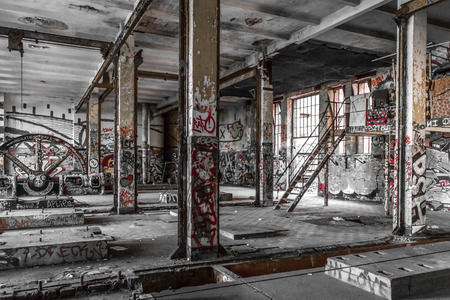 abandoned warehouse: abandoned factory interior  , old building ruin