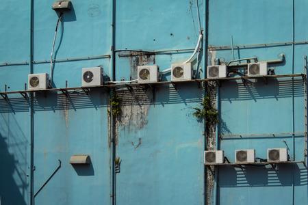 ac: Ac, air conditon on old building facade