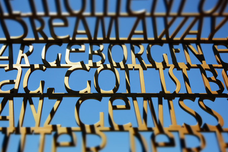 totaled: bible verses text sculpture, german bible quotes at gardens of the world