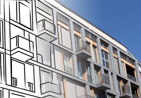 building sketch: modern building facade sketch - real estate concept Stock Photo