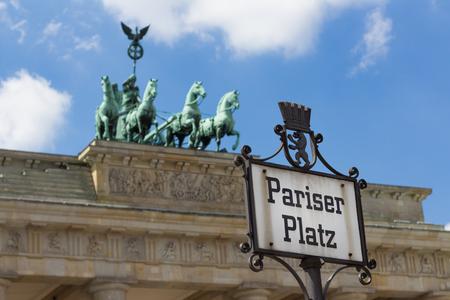 brandenburg gate: Pariser Platz street sign and brandenburg gate
