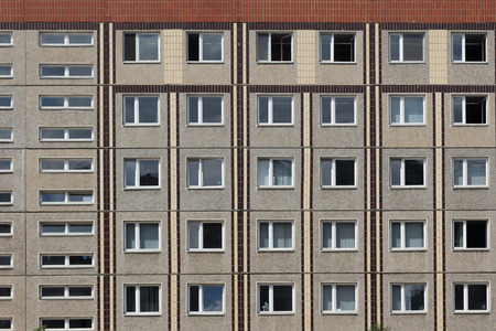 east berlin: old gdr building facade in east berlin