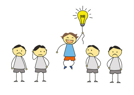 business work: creativity concept, standing out from the crowd Illustration