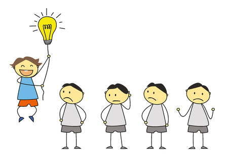 standing out in the crowd: creativity concept, standing out from the crowd Illustration