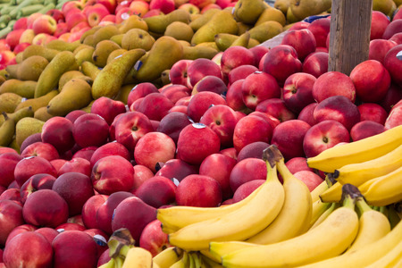 fruit market: fruit market stall , mixed fruits at food market stand Stock Photo