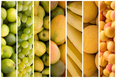 sorted: color sorted fruit collage - fruit background
