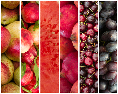 multivitamin: color sorted fruit collage - fruit background
