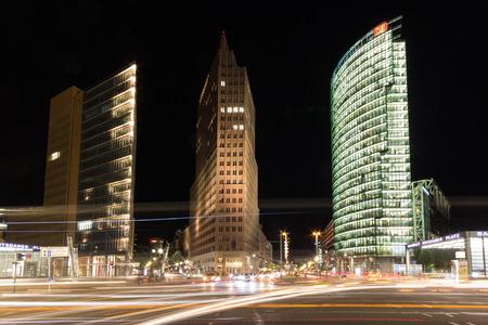 Berlin, Germany - august 30, 2016: Street traffic at night at Potsdamer Platz in Berlin, Germany.