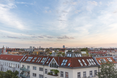 property berlin: View over rooftops - city skyline at sunset Editorial