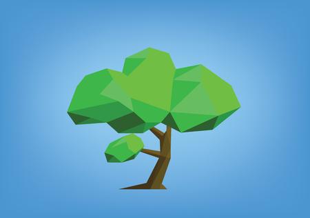single tree illustration - low poly style Illustration