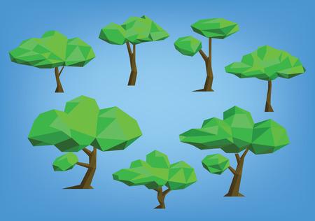 tree illustration set - low poly style
