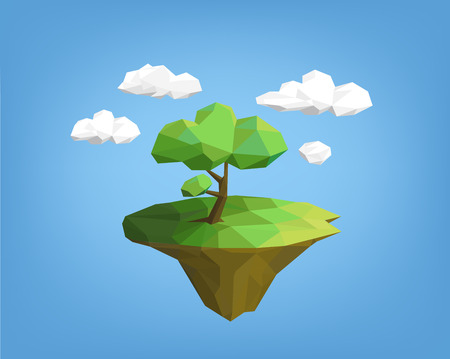 floating: landscape low poly style - tree on island, blue sky and clouds. polygonal illustration Illustration