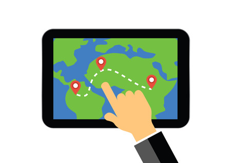 hand on tablet display with map and gps navigation system illustration