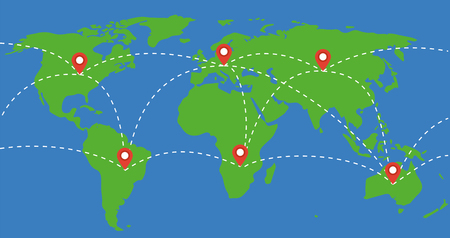 Places marked with location marks on world map illustration places marked with location marks on world map illustration travel around the world concept gumiabroncs Images