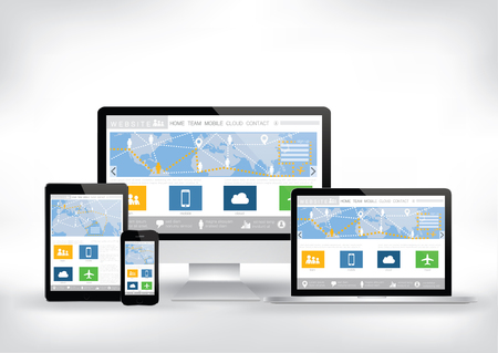 laptop screen: Computer, smart phone, tablet , laptop screen and website template - illustration
