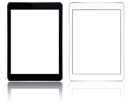 pad: modern Tabled computer pad with blank screen black and white