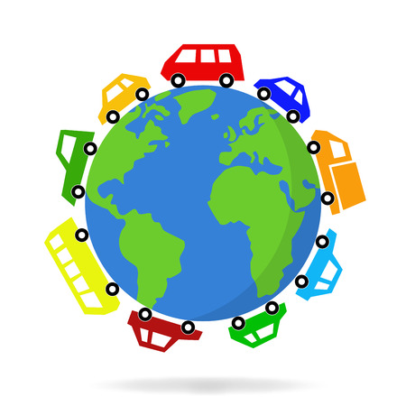 illustration of cars driving around the world graphic