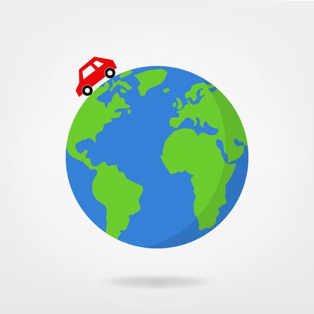 car driving on globe  world map - illustration
