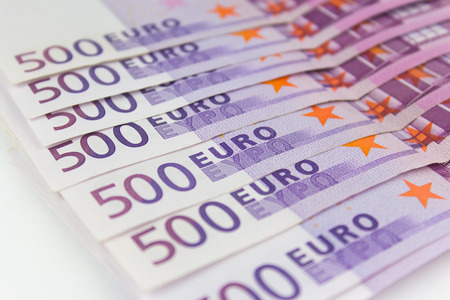 european currency: 500 Euro money bills - European currency cash