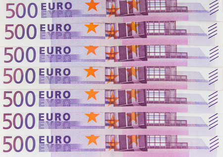 european currency: 500 Euro bills - European currency cash  money