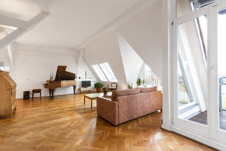 living room with parquet floor in beautiful apartment home 版權商用圖片