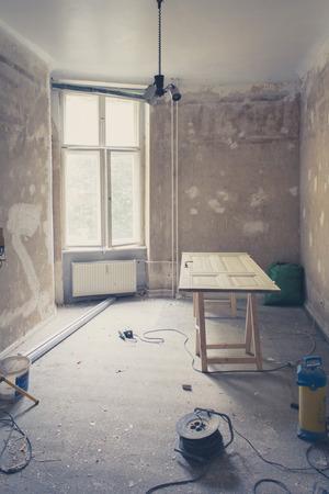 refurbishing: room during renovation, refurbishing home - vintage filter