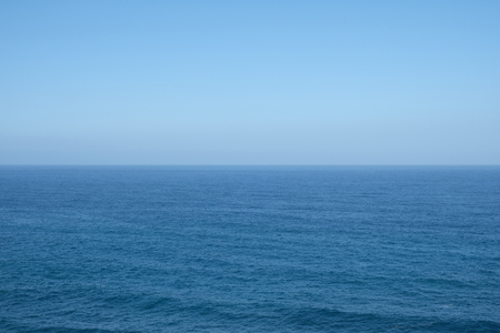 ble: ocean horizon,  clear blue sky background Stock Photo