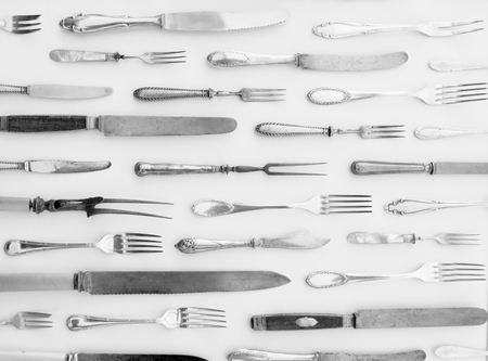 beautiful antique cutlery - beautiful vintage flatware isolated on white background