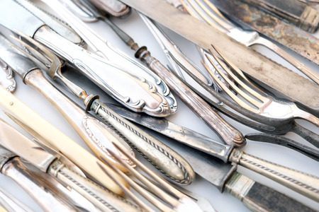 vintage cutlery, beautiful old silver tableware