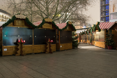 drove: Berlin, Germany - december 20, 2016: Closed market stalls at Christmas Market in Berlin, the day after a truck drove into crowd of people.