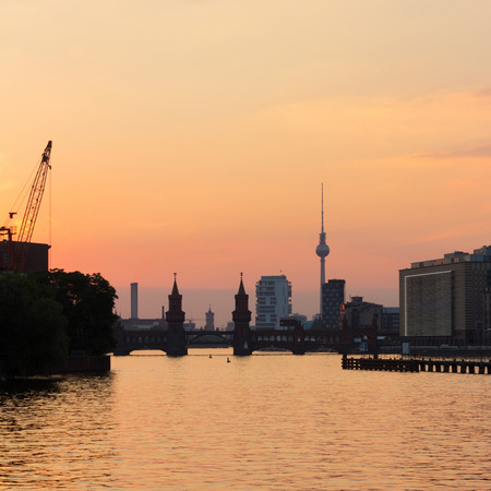 berlin skyline, river spree and sunset sky Stock Photo