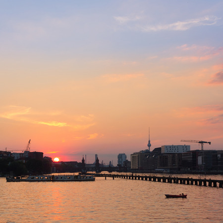 or spree: berlin skyline, river spree and sunset sky Stock Photo
